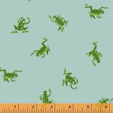WINDHAM FABRICS KINDER BY HEATHER ROSS FROGS ON PALE BLUE 100% COTTON 43484-9