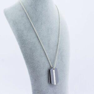 Tiffany & Co. Silver 925 & Black Titanium 1837 Dog Tag Pendants Silver 925 Chain