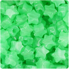 250 Green Glow 13mm Star Plastic Pony Beads Made in the USA