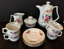 COFFEE SET HAND PAINTED HENNEBERG PORZELLAN MADE IN GERMAN- 13 pcs