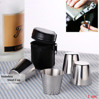 4Pcs Stainless Steel Camping/Travel Mug Beer Tumbler Coffee Tea Cup+PU  A Q