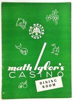1950's Original Vintage Menu MATH IGLER'S CASINO German Restaurant Chicago IL