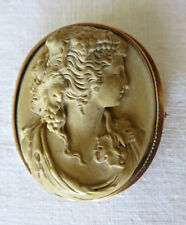 Elegant Antique Victorian 14K Lava Cameo Bacchante Pin Brooch Late 19th Century