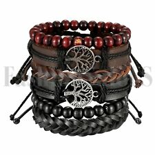 6pcs Leather Tribal Beaded Tree of Life Cuff Wristband Bracelet for Men Women