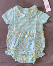 Baby Girl 0-3 Month Baby Gap Green Ditsy Floral One Piece Collared Short Romper