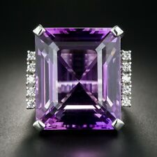 Large Royal Purple 28.70ct Amethyst & Cubic Zirconia 925 Sterling Silver Ring