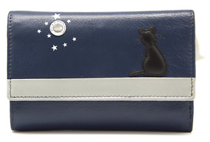 MALA Leather Cat Purse Blue Ladies Tri Fold Coin Card Holder Wallet Purses RFID