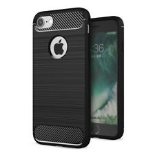 Handy Hülle Apple iPhone 7 TPU Carbon Fiber Optik Brushed Motiv Schutz Case Etui