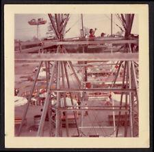 DIZZYING AMUSEMENT PARK RIDE TERROR FERRIS WHEEL ~ 1960s VINTAGE PHOTO