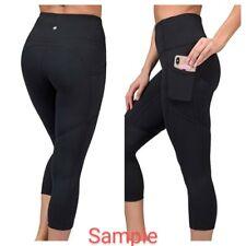 Yogalicious Lux Black High Waist Squat Proof Yoga Capri Leggings w Pockets XL