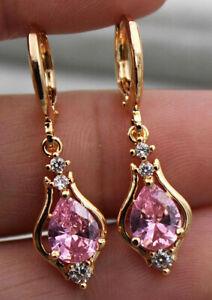 PINK SAPPHIRE DIAMOND 18 CARAT GOLD  EARRINGS AAA DROP DANGLE ART NOUVEAU STYLE