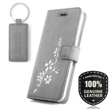 SURAZO® Premium Echtes Ledertasche Schutzhülle Wallet Flip Case - Silber Blumen
