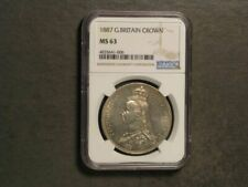 GREAT BRITAIN 1887 1 Crown Victoria Jubilee Silver NGC Slabbed MS-63