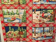 Happy Camper Fabric Panel Summer Camp Retro Children playing American Jane MODA