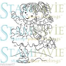 Stampavie JANE SKATING Tina Wenke Clear Stamp Girl Kid  Christmas Winter