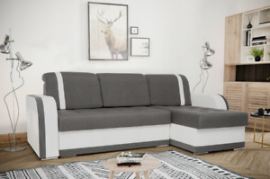 EURO HOMEWARE Corner Sofa Bed ''DINA'' GREY WHITE
