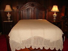 Antique Handcrafted Handmade Off White or Beige Crochet Bedspread ~ A HEIRLOON