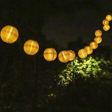 21.3 Foot 30 LED Solar Warm White Fabric Lantern Garden String Lights Waterproof