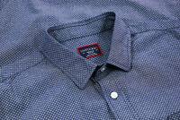 Untuckit Mens Slim Fit Cotton Long Sleeve Button Up Shirt Blue Geometric Size M