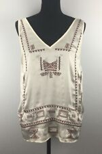 Laundry by Shelli Segal Women's Top Size 14 Sleeveless V-Neck Embroidered Ivory