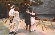 """Simple Life"" in Marysville Kansas~Well Dressed Farming Couples~Rake Hoe~1908 PC"