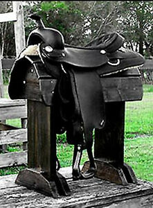 GhostRider®  Black Deluxe Saddle Stand-Rack Solid Wood Heavy Duty
