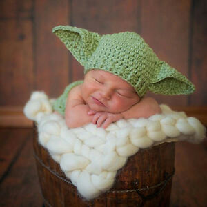 Newborn Baby Yoda Photo Props Star Wars Outfits Crochet Knit Baby Costume