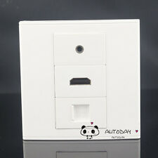 Wall Socket Plate Cat5 RJ45 LAN Network & 3.5mm Earphone & HDMI Panel Faceplate