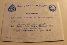 RARE VIP Ticket for collectors EC Ruch Chorzow Austria Wien 1998 Poland