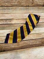 Polo Ralph Lauren Vintage Gold Red Navy Striped Necktie Tie Silk USA Made