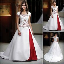 Vintage White and Red Satin Short Sleeve Wedding Dress Bridal Gowns Custom Size