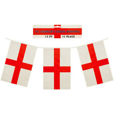 St George Red & White  Square Shaped Bunting 11 Flags 12 Feet Long