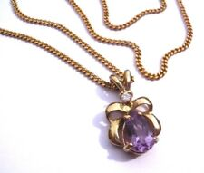 """GOLD PLATED PURPLE CLEAR Crystal Faceted Glass Stone PENDANT CHAIN NECKLACE 16"""""""
