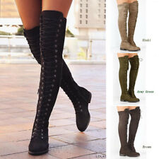 Women's Stretch Lace Up Zip Chunky Heels Knee High Boots  Fashion Round Toe Shoe