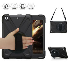Black Smart Case for iPad mini 1 2 3 With Hand Strap and 360° Swivel Kickstand