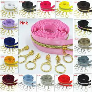 5# Golden Silver Slider Teeth Bulk Nylon Zipper Coil Coded DIY Household Sewing
