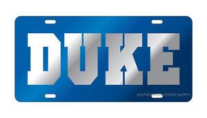 DUKE UNIVERSITY Blue Devils Blue-Silver Mirrored License Plate / Car Tag