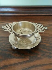 Vintage/Antique?  St & Co EPNS Tea Strainer with Drip Plate - Made in England