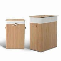 2 Sizes Laundry Hamper Basket Bamboo Washing Clothes 2 Sections Bin Storage