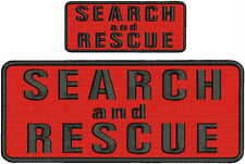 Search and Rescue embroidery patches 4x10 and 2x5  hook on back black red