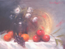 "ORIGINAL Contemporary OIL PAINTING Still Life 12"" x 16"" APPLES Signed REALISM"