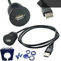 USB 2.0 A Male to Female Extension Dash Flush Mount Cable For CarBoat Motorcycle