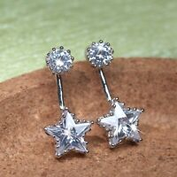 18k white gold made with SWAROVSKI crystal stud earrings ear jacket silver star