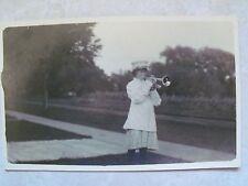 Rppc Teenage Girl Blowing Trumpet in Uniform Antique Real Azo Photo Postcard Me