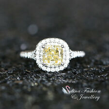 925 Sterling Silver + White Gold Filled 1.0 ct Yellow Nano Russian Halo Ring