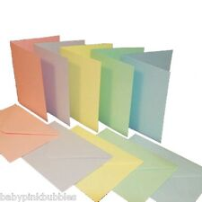 50 A6 Blank Pastel Coloured Cards & C6 Envelopes Pink, Green, Lilac ,Yellow,Blue