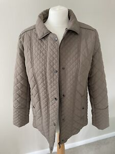 LADIES M&S Padded Quilted Jacket Coat Beige Brown Size 14 Barber Similar
