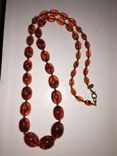 """JOAN RIVERS Faux Amber Plastic W Gold Pl Bead Necklace 32"""" Excellent Condition"""