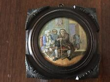Victorian Highly Detailed Prattware Pot lid In Frame Dr Johnson 15cmx15cm
