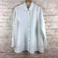 Soft Surroundings Womens Linen Button Down White Sally Shirt Blouse Top Size XL